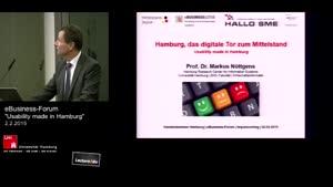 """Miniaturansicht - eBusiness-Forum """"Usability made in Hamburg"""" - Eröffnungsvortrag Prof. Dr. Markus Nüttgens - Hamburg - das digitale Tor zum Mittelstand"""
