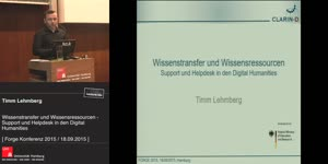 Thumbnail - Wissenstransfer und Wissensressourcen: Support und Helpdesk in den Digital Humanities