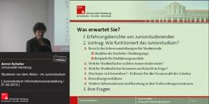 Miniaturansicht - Studieren vor dem Abitur – im Juniorstudium, Informationsveranstaltung am 21.05.2013