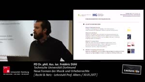 Thumbnail - Lehrstuhl Prof. Albers - Recht & Netz - Neue Formen der Musik und Urheberrechte : PD Dr. phil. Ass. iur. Frédéric Döhl