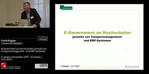 Miniaturansicht - eGovernment an Hochschulen jenseits von Campusmanagement- und ERP-Systemen