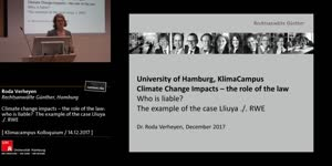 Thumbnail - Climate change impacts – the role of the law: who is liable?  The example of the case Lliuya ./. RWE