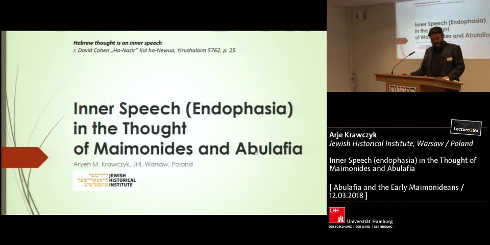Inner Speech (endophasia) in the Thought of Maimonides and