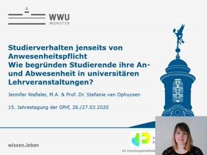Miniaturansicht - 173 - Studierverhalten jenseits von  Anwesenheitspflicht Wie begründen Studierende ihre An- und Abwesenheit in universitären  Lehrveranstaltungen? - Vortrag