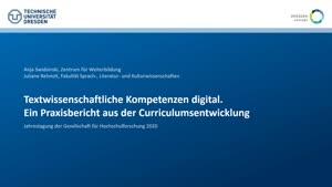 Miniaturansicht - 147 - Textwissenschaftliche Kompetenzen digital. Ein Praxisbericht aus der Curriculumsentwicklung - Vortrag