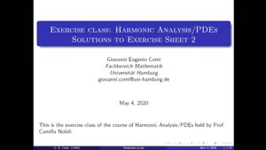 Thumbnail - Exercise class: Harmonic Analysis/PDEs, Lecture 3, Part 1