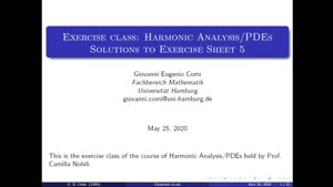 Thumbnail - Exercise class: Harmonic Analysis/PDEs, Lecture 6, Part 1