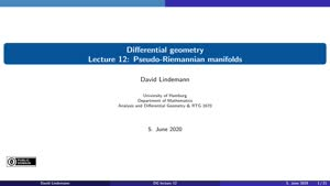 Miniaturansicht - Lecture 12:  Pseudo-Riemannian manifolds