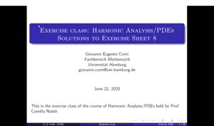 Thumbnail - Exercise class: Harmonic Analysis/PDEs, Lecture 9, Part 1