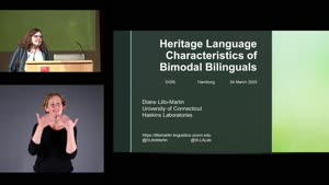Miniaturansicht - Heritage Language Characteristics of Bimodal bilinguals (English subtitles)