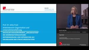 Vorschaubild - Vorlesung 4: Die Koordinationsaufgabe: Differenzierung und Integration als Grundlagen der Strukturgestaltung