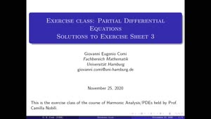 Thumbnail - Exercise class: Partial Differential Equations, Lecture 4, Part 1