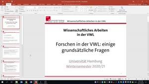Vorschaubild - Wissenschaftliches Arbeiten in der VWL - Vorlesung 6