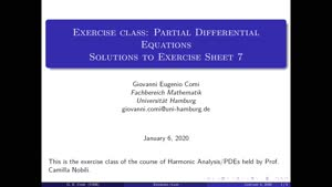 Thumbnail - Exercise class: Partial Differential Equations, Lecture 8, Part 1
