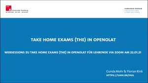 Miniaturansicht - Take Home Exams (THE) in OpenOlat - Web-Session