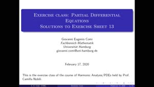 Thumbnail - Exercise class: Partial Differential Equations, Lecture 14, Part 1