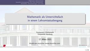 Miniaturansicht - Mathematik als Unterrichtsfach in einem Lehramtsstudium