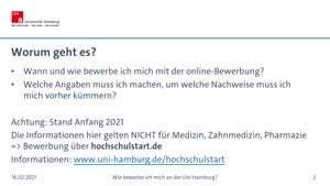 Vorschaubild - Wie bewerbe ich mich um einen Studienplatz an der Uni Hamburg?