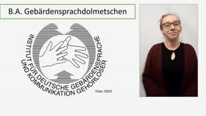 Thumbnail - Vorstellung: Studiengang Gebärdensprachdolmetschen B.A. (Fassung in Deutscher Gebärdensprache)
