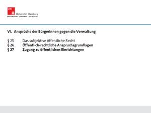 Thumbnail - § 26 Öffentlich-rechtliche AGL + § 27 Zugang zu öffentlichen Einrichtungen