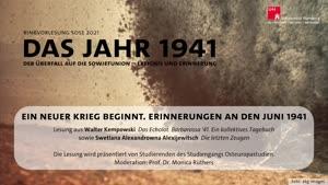 Vorschaubild - Ein neuer Krieg beginnt. Erinnerungen an den Juni 1941