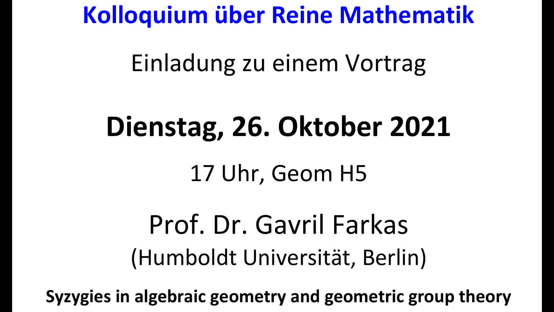 Thumbnail - Syzygies in algebraic geometry and geometric group theory