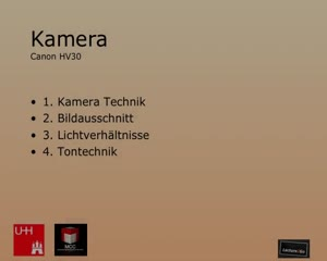 Miniaturansicht - Kamera- und Toneinführung für das Vorlesungsaufzeichnungssystem Lecture2Go