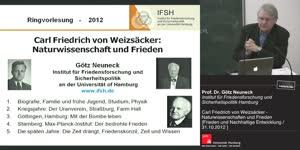 """Vorschaubild - Carl Friedrich von Weizsäcker-Friedensvorlesung: """"Frieden und nachhaltige Entwicklung"""""""