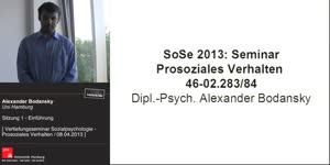 Miniaturansicht - Sitzung 1: Vertiefungsseminar zur Sozialpsychologie - Prosoziales Verhalten