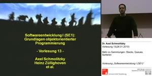 Miniaturansicht - SE1, Vorlesung 13- Mehr zu Sammlungen: Stacks, Queues, Sortieren (26.01.2011)