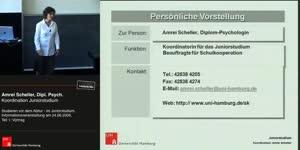 Miniaturansicht - Teil 1: Studieren vor dem Abitur - im Juniorstudium, Informationsveranstaltung am 24.06.2009, Vortrag
