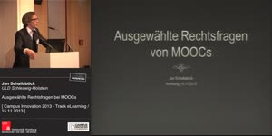 Miniaturansicht - Ausgewählte Rechtsfragen bei MOOCs