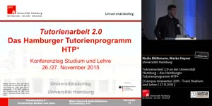 Thumbnail - Tutorienarbeit 2.0 an der Universität Hamburg - das Hamburger Tutorienprogramm HTP+