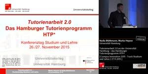 Vorschaubild - Tutorienarbeit 2.0 an der Universität Hamburg - das Hamburger Tutorienprogramm HTP+
