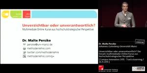 Miniaturansicht - Unverzichtbar oder unverantwortlich? Der Einsatz multimedialer Online Kurse aus hochschulstrategischer Perspektive