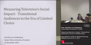 Vorschaubild - Measuring television's social impact: Transitional audiences in the era of limited choice